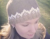 Ready to ship Fair isle knitted hat. Adult size. Alpaca and wool. Knit hat. Knit gift. Neutral colors.
