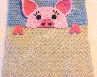 PDF CROCHET PATTERN Peek-a-Pig, Pig Pajama Pillow, boy Pj bag, girl Pj pillow, Pj animal bag, child Pj pet pillow, bed Pj pillow