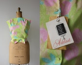reserved // vintage 1960s blouse / 60s pastel watercolor top / 60s sleeveless shell top / button back blouse / nos nwt / size xl