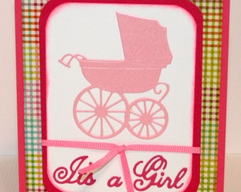It's A Girl - Carriage - New Baby - Baby Girl - Greeting Card