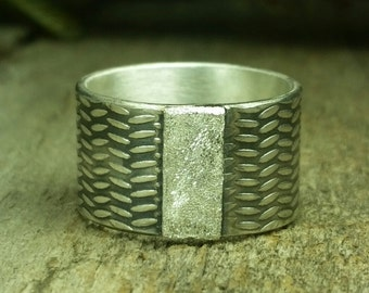 Sterling silver statement band,Unisex sterling band, Size 10 and half, antiqued texture mens ring, womens large size ring