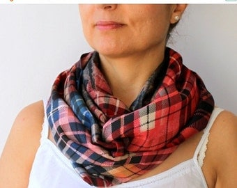 50% CLEARANCE SALE Womens Scarf Checkered Textured Red Deep Blue Infinity Scarf Fashion Loop Circle Scarf Chiffon Scarf
