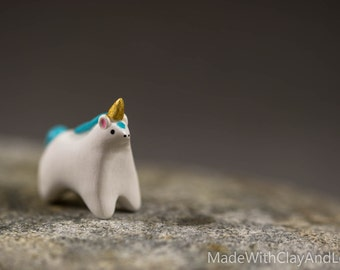 BACK IN STOCK - Little Turquoise Unicorn - Miniature Terrarium Figurine Hand Sculpted Miniature Polymer Clay Animal