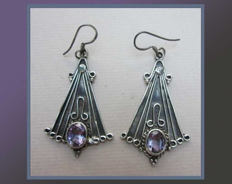 Art Nouveau REVIVAL-Gorgeous Sterling Silver Dangle Earrings with Sparkling Faceted Amethysts,Color Purple,Vintage Jewelry,Women