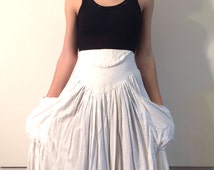 White Cotton hi waist deep pocket Vintage Norma Kamali Skirt  from Basia's Private Collection - Free US Shipping