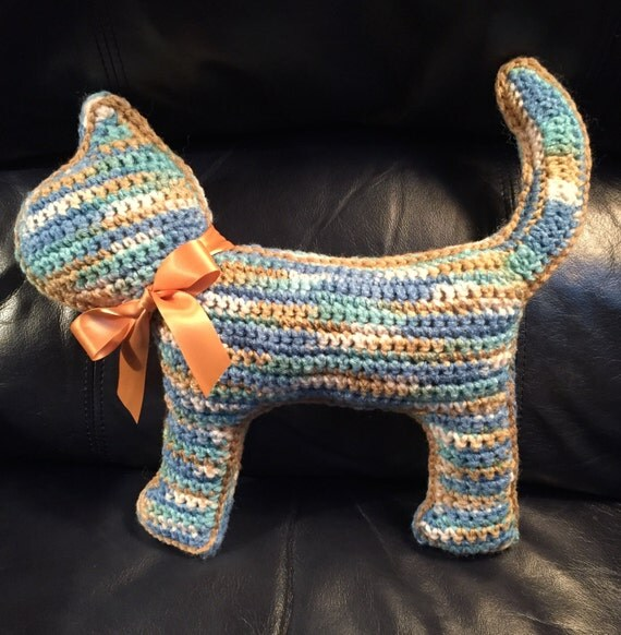 "Blue, Aqua, Tan and Cream ""Flat"" Cat Pillow/Toy"