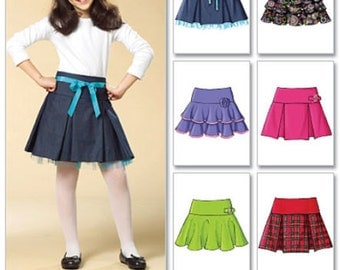 GIRLS SKIRT PATTERN / Pleated - Flared - Ruffled / Sizes 3 to 6 Or 7 to 14 / School Clothes