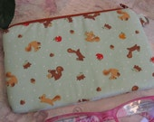 squirrel and acorn  zipper bag /  d ring / cell phone  pouch/ cell phone case/ gadget bag/ ready to ship