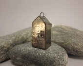 Less Is More...Minimalist Raku House Pendant...Golden Bronze