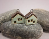 READY TO SHIP...Miniature House Charms in Stoneware...Set of 2...Mint Green
