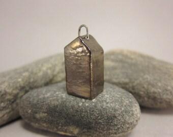Less Is More...Minimalist Raku House Pendant...Golden Bronze