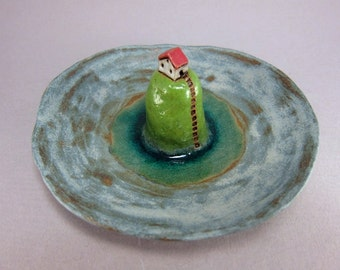 Green Isle...Art Plate in Stoneware