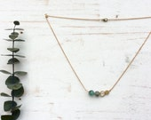 Brass Honeycomb and Turquoise Minimalist Necklace -  Stone and Hexagon Choker - Crystals Necklace - Raw Stone Jewelry - Natural Stone