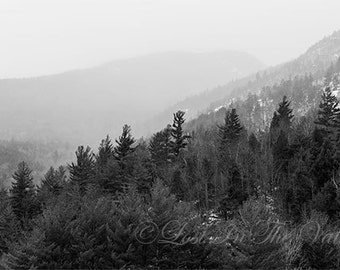 Adirondack Mountains, Landscape Photograph, Nature Photography, Mountain Photo, Rustic Wall Decor, Fine Art Print, White and Black, Grey