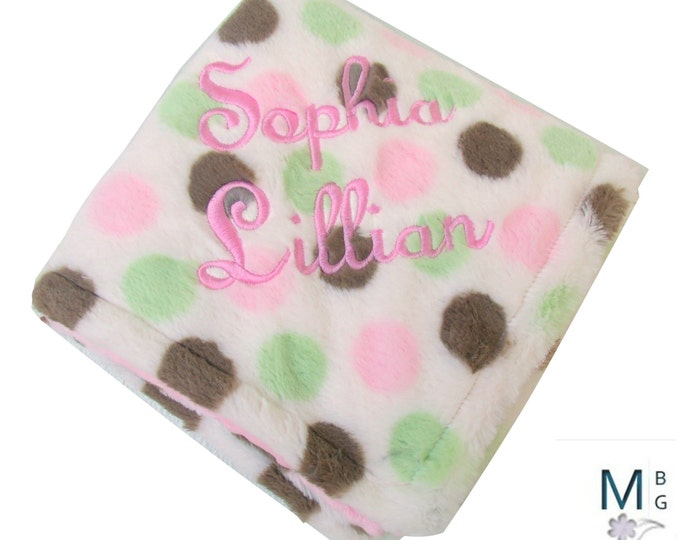 Pink and Brown Polka Dot Minky Dot Blanket, Pink Brown Mod Dot Minky Baby Blanket