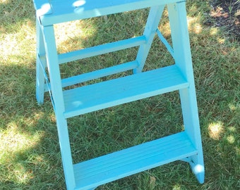 Painted Turquoise Wood Folding Ladder Wooden Step Stool Vintage
