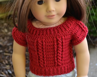 18 inch Doll Clothes - Crocheted Cable Sweater - Red - MADE TO ORDER - fits American Girl