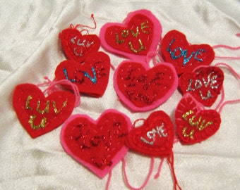 Ten hand made hearts, heart accents, geekery, love for sale, Valentine hearts