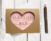 German Valentine's Day Card in Pink - Ich Liebe Dich Card - Heart Cut Out Valentine Card - Valentine Card Her - German I Love You Card Pink