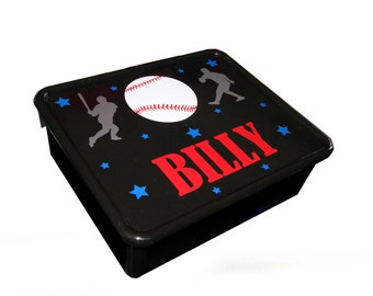Personalized Double Storage Bin - Baseball
