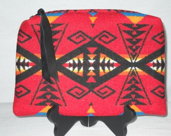 Wool Clutch XL Red Great Star Southwestern Geometric Tribal Handcrafted with Fabric Purchased from Pendleton Woolen Mills