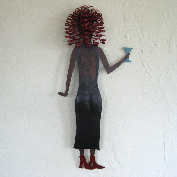 Metal Wall Art Cocktail Lady With Martini Glass Recycled Metal Wall