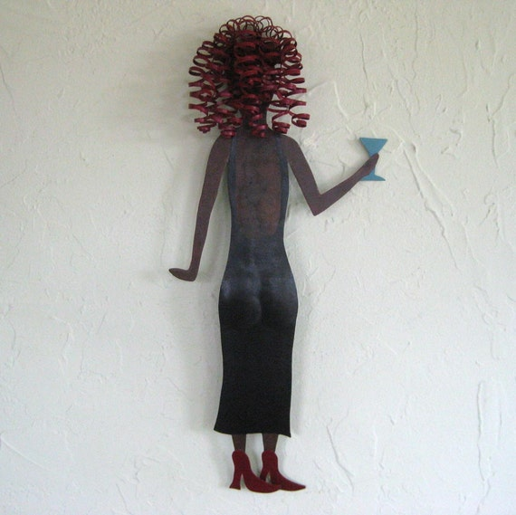 Metal Wall Art - Valerie - Lady with Martini Glass - Recycled Metal Wall Hanging Black Dress Red Head Cocktail Party Gal