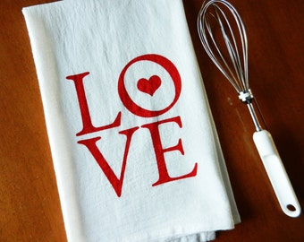 Valentine's Day Dish Towel, Valentine Gift, Love Dish Towel, Love Screen Printed Cotton Love Tea Towel