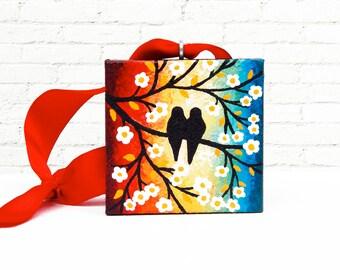 Christmas Tree Ornament Colorful Rainbow Art, Love Birds Holiday Ornament, Bird Ornament Original Painting 2x2, Christmas Gift with Box