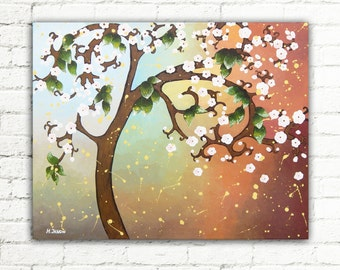 Baby Blue Brown Tree Painting, Cherry Blossom Canvas Art, Tree of Life Wall Art Decor, Whimsical Tree Living Room Decor 16x20