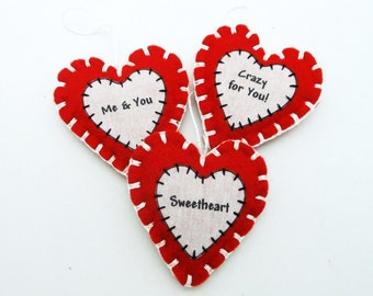 3 Hand Sewn Valentine's Word Ornaments