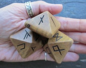 Unique and Exclusive - Rune Dice - made from Holly wood. Set 97.
