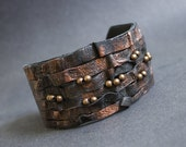 50% OFF SALE Rustic elegant leather bracelet Cuff Wristband Copper color. Statement leather jewelry