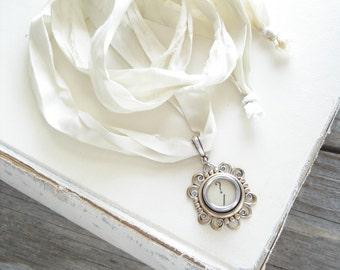 Typewriter Key Necklace SALE. Question Mark Key. Vintage Typewriter Key Jewelry. Long Boho Sari Silk Ribbon Necklace. Upcycled Eco Friendly.