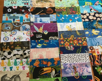 100 6 inch quilt squares BOYS and GIRLS  - Great for I Spy or rag quilt kit / cotton / novelty (LOT G)