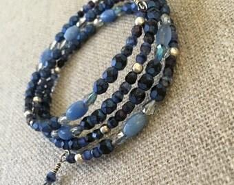 Angelite memory wire bracelet art glass Czech glass- Lorelei Novak jewelry
