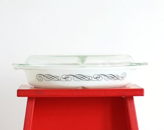 Vintage Pyrex Black Scroll Divided Casserole Dish / Mid Century Pyrex