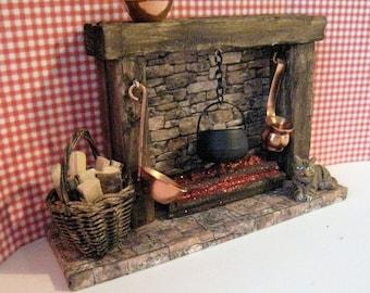 Dollhouse Fireplace, country fireplace, dolls house fireplace, cottage fireplace, Stone-look fireplace, dark oak, twelfth scale miniature