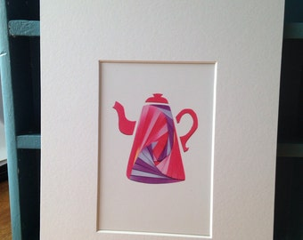 Proper Pink Coffee Pot - mounted print of original iris folded artwork - measures 10x8 / 25x20