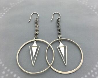 Geometric Pendulum Spike Hoop Earrings