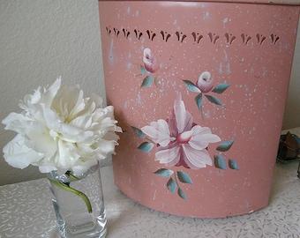 painted toleware... CORNER...wastecan...vintage painted metal