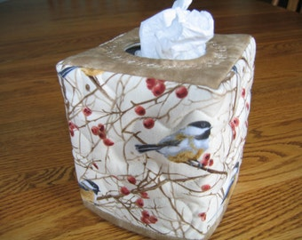 Quilted Tissue Cover in Chickadees