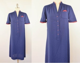 Vintage Ladies Navy Blue Dress Short Sleeve Flight Attendant Style Size 10 Made in USA 1960s