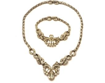 1940s Lisner Set, Vintage Lisner Demi Parure, Necklace & Bracelet Set, Rhinestone Necklace Set, Early Lisner Costume Jewelry Set Antique