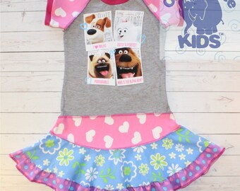 A dress made out of authentic Secret life of pets tshirt cool funky recycled upcycled  pieced  size 6 (other sizes also available )