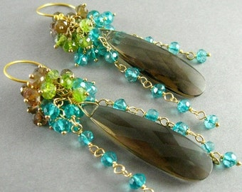 End Of Summer Sale Smokey Quartz, Andalusite, Vesuvianite and Teal Quartz Gemstone Cluster Gold Filled Earrings