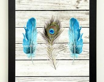 Feather Art Print, Modern Tribal Art, Feather Printable, 8x10 Instant Download, Modern Wall Decor, Black Blue Feather Art, Boho Decor