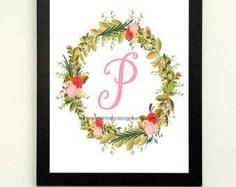 Letter P Printable, 8x10 Instant Download, Baby Girl Nursery Art, Nursery Wall Decor, Floral Monogram, Baby Girl Gift, Baby Shower Gift