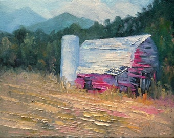 """Rustic Barn Oil Painting, Landscape Oil Painting,Palette Knife Painting, 9x12x.75"""" Rural Landscape, Free Shipping in US"""