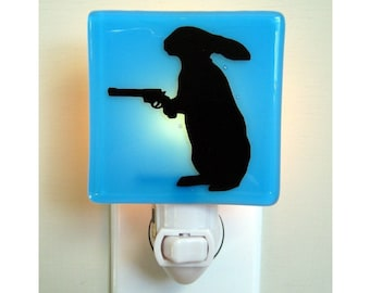 Rabbit Night Light - Funny Gift - Rabbit With a Gun Nightlight - Funny Bunny